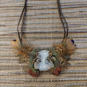Jewelry - Natural Feather Choker and Earrings